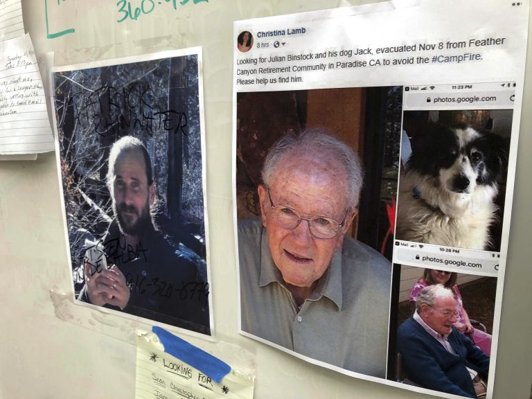 Messages are shown on a bulletin board at The Neighborhood Church in Chico, Calif., on Tuesday, Nov. 13, 2018. Numerous postings fill the message board as evacuees, family and friends search for people missing from the northern California wildfire. (Gillian Flaccus/AP)