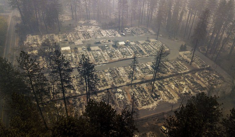 Residences leveled by the wildfire line a neighborhood in Paradise, Calif., on Thursday, Nov. 15, 2018. The California Department of Forestry and Fire Protection said Thursday the wildfire that destroyed the town of Paradise is now 40 percent contained, up from 30 percent Wednesday morning.  (Noah Berger/AP Photo)