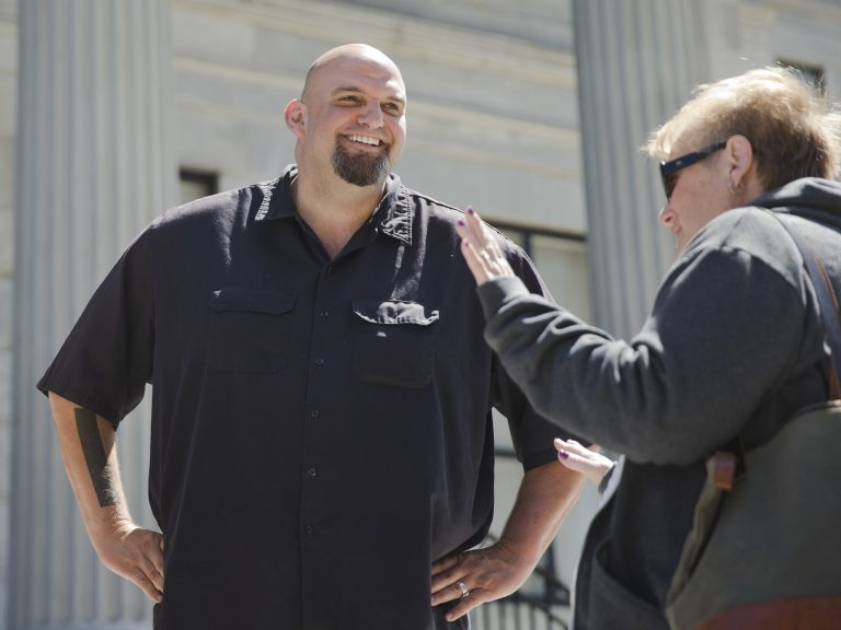 In this April 14, 2016, file photo, Braddock, Pa., then-Mayor, now Lt Gov-elect John Fetterman meets with people following a news conference he held in Norristown, Pa. (Matt Rourke/AP Photo, File)