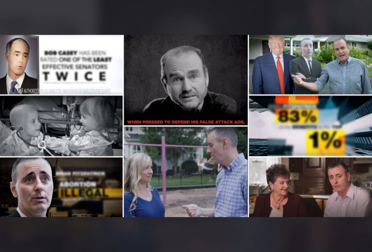 These screen shots of political ads for the 2018 election come from the campaigns for Lou Barletta, Bob Casey, Brian Fitzpatrick and Scott Wallace.