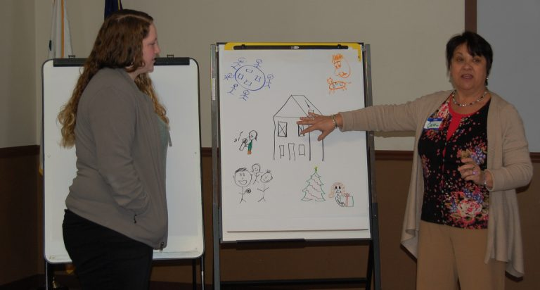 Carol Erzen (right) of Merakey Allegheny Valley School in Pittsburgh trains special-needs caregivers in how to identify signs of Alzheimer's and dementia and adjust a patient's surroundings accordingly. (Merakey Allegheny Valley School)