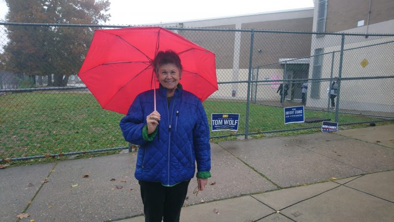 Esther Mathieu, 71, has never voted for a Republican in her life. She's a Jewish refugee from eastern Europe. Her parents were in a concentration camp. She fears the U.S. is moving towards fascism, and considers moving to another country. (Kevin McCorry/WHYY)