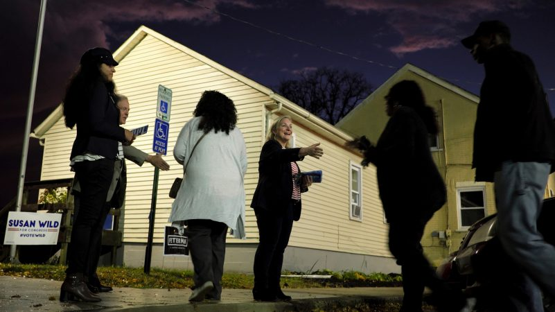 Democratic congressional candidate Susan Wild greets voters on election night. (Matt Smith for WHYY)