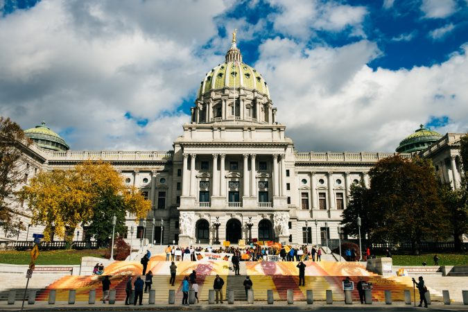 Around 200 people came to the Pennsylvania Capitol Saturday to celebrate the work of muralist and activist Michelle Angela Ortiz. With the project called