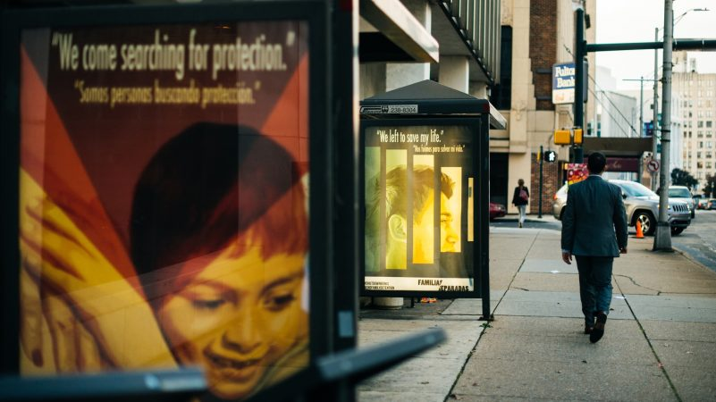 The project also includes artwork on three bus shelters near the Capitol campus in Harrisburg. (Dani Fresh for WHYY)