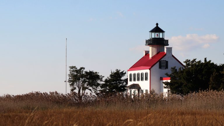 The East Point Lighthouse was built in 1849 where the Maurice River meets the Delaware Bay. (Bill Barlow for WHYY)