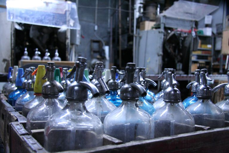 People have enjoyed seltzer and other sparkling drinks for decades. Some of the bottles at the Brooklyn Seltzer Boys go back to the 1950s. (Alan Yu/WHYY)