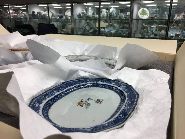 Porcelain dishes like this one that belonged to George Washington are being sent from Winterthur Museum in Delaware to China for an exhibit. (Mark Eichmann/WHYY)