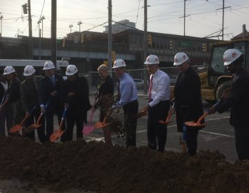 City and state officials in Delaware broke ground on an upcoming Wilmington transit hub. (Zoe Read/WHYY)