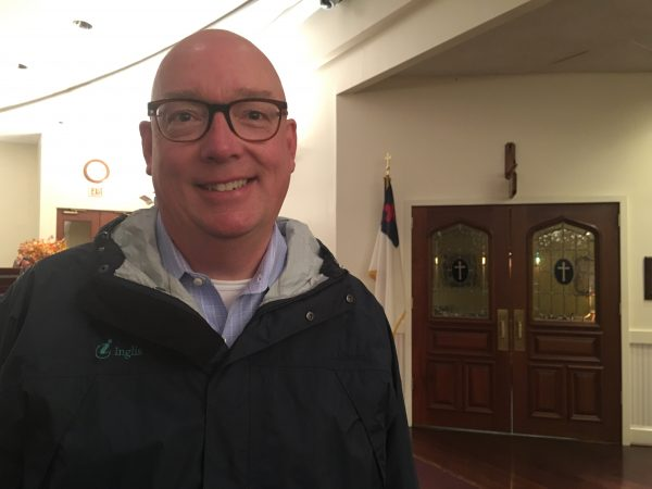 John Dugan form Newtown split his ticket — Wolf for governor and Fitzpatrick for congress. He said he was torn in particularly between Fitzpatrick and Wallace but ultimately decided to go red because he cares a lot about taxes. (Taylor Allen/WHYY)