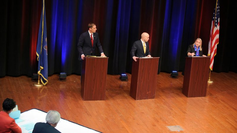 PBS39, the Lehigh Valley's public television station, hosts a debate between candidates for Pennsylvania's new 7th Congressional District, including Democrat Susan Wild (right), Republican Marty Nothstein (left) and Libertarian Tim Silfies, on Oct. 23, 2018, at Northampton Community College in Bethlehem Township, Pennsylvania. (Matt Smith for WHYY)