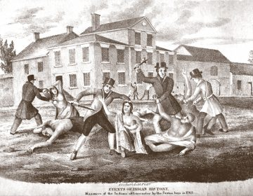 An engraving from the Library Company of Philadelphia depicting the massacre of Conestoga Native American tribe by the so-called Paxton Boys in Lancaster, 1763. (Courtesy of the Library Company of Philadelphia)