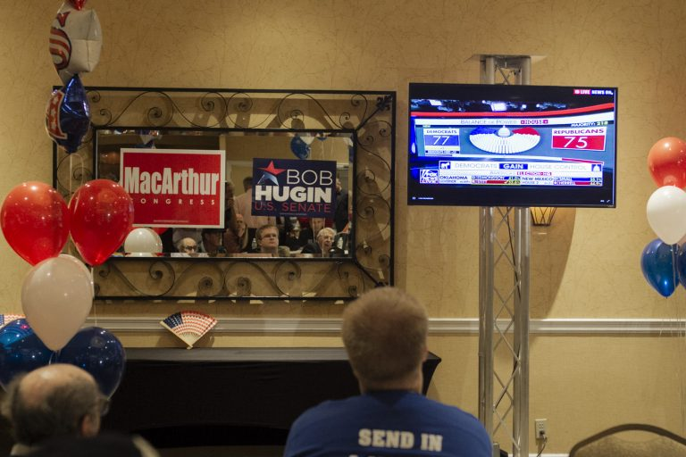 Headquarters for N.J. Rep. Tom MacArthur on election night 2018. (Miguel Martinez for WHYY)