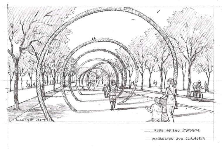 An artist's rendering of a concept for the multi-use path that would incorporate the area's history as a rope-making hub (DRWC)