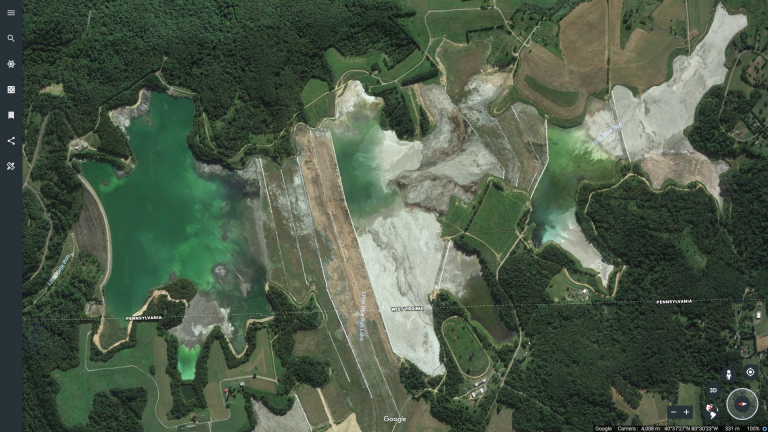 Little Blue Run coal ash pond, on the Pennsylvania-West Virginia border. (Google Earth)