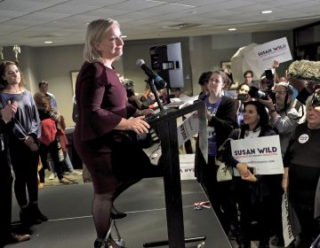 Susan Wild, Democratic candidate for Pennsylvania's new 7th Congressional District, celebrates a victory in the race during an Election Night event Nov. 6, 2018, at Coca-Cola Park in Allentown, Pennsylvania. (Matt Smith for WHYY)