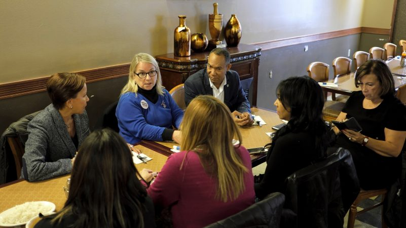 Susan Wild, Democratic candidate for Pennsylvania's new 7th Congressional District, meets with New York Congresswoman Nydia Velázquez (left) and local leaders in the Latino community during a lunch Oct. 22, 2018, at Mar & Tierra Restaurant in Allentown, Pennsylvania. (Matt Smith for WHYY)