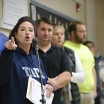 Tamaqua parent Rebecca Kowalski criticizes the school board's new policy that would authorize the training and arming of some teachers and staff. (Matt Smith for Keystone Crossroads)