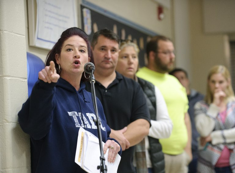 Tamaqua parent Rebecca Kowalski supports the school board's new policy that would authorize the training and arming of some teachers and staff. (Matt Smith for Keystone Crossroads)