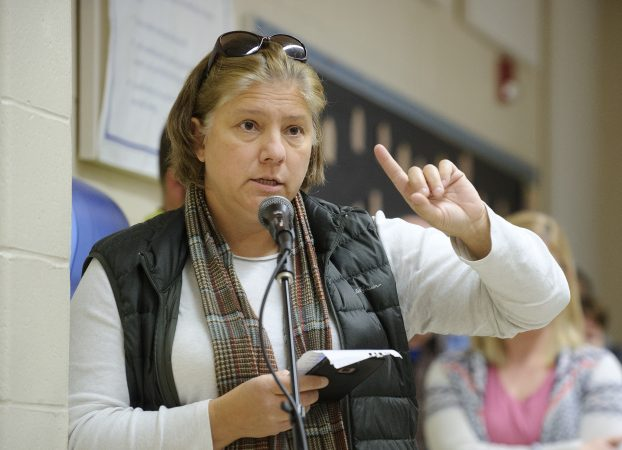 Tamaqua parent Liz Pinkey, 45, vented her frustrations with the school board at the Nov. 7, 2018 meeting. She's now running for school board on an anti-armed teachers platform. (Matt Smith for Keystone Crossroads)