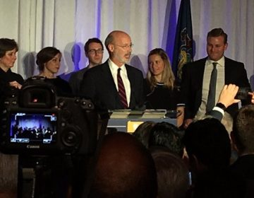 Tom Wolf delivers a brief speech at his election night event after declaring victory. (Katie Meyer/WITF)