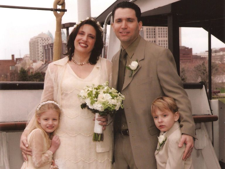 Jackie Borock, center, with her husband Todd, and her two children, Carolyn, left, and David. (Courtesy of Jackie Borock)