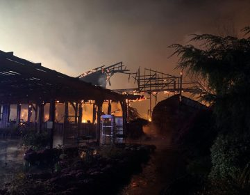 The charred remains of Willey Farms market in Townsed, Delaware, smolder early Monday morning. (Willey Farms/Facebook)