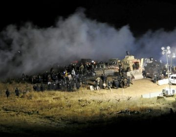 Law enforcement and protesters clash near the site of the Dakota Access pipeline in Cannon Ball, N.D., in November 2016. (Morton County Sheriff's Department/AP)