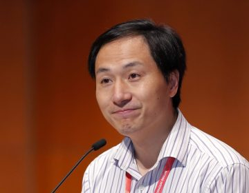Chinese researcher He Jiankui spoke Wednesday during the Second International Summit on Human Genome Editing in Hong Kong. (Kin Cheung/AP)