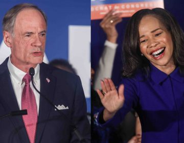 Incumbent Democrats Tom Carper and Lisa Blunt Rochester during a watch party Tuesday, Nov. 06, 2018, at the Doubletree Hotel in Wilmington, Delaware. (Saquan Stimpson for WHYY)