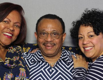 Roy Daley, 74, with his wife, Ana Smith-Daley, 71, (left) and his daughter, Lucy Figueroa, 41, at StoryCorps in Austin, Texas. (Savannah Winchester/StoryCorps)