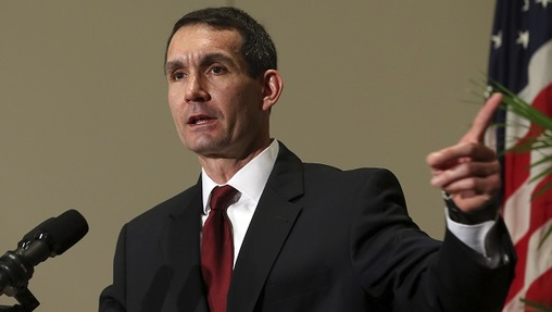 Pennsylvania Auditor General Eugene A. DePasquale, speaks after he was sworn in for his second term at the Capitol in Harrisburg, Pa., Tuesday, Jan. 17, 2017. (Chris Knight/AP Photo)