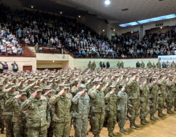 The soldiers of the 28th Infantry Division Headquarters stand at attention at a farewell ceremony on January 13, 2018. (Rachel McDevitt/WITF)