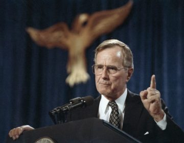 George H.W. Bush, the 41st president of the United States, speaks at a fundraiser in Dallas in 1991.  (Marcy Nighswander/AP Photo)