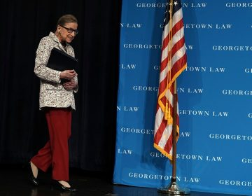 U.S. Supreme Court Justice Ruth Bader Ginsburg arrives at a lecture on Sept. 26 at Georgetown University Law Center in Washington, D.C. Ginsburg has been hospitalized after falling and fracturing several ribs. (Alex Wong/Getty Images)