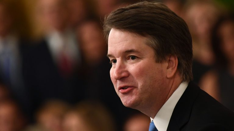 Brett Kavanaugh speaks after being sworn-in at the White House last month. (Brendan Smialowski/AFP/Getty Images)