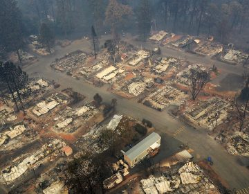 An aerial view of a neighborhood destroyed by the Camp Fire in Paradise, Calif. Fueled by high winds and low humidity, the wildfire ripped through the town, charring more than 140,000 acres and killing more than 60 people. (Justin Sullivan/Getty Images)