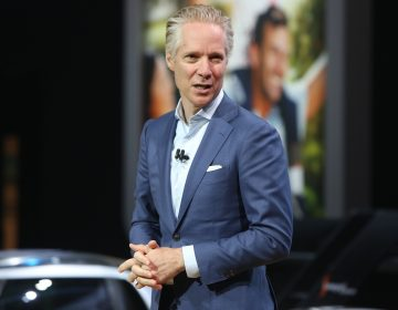 Scott Keogh, president of Volkswagen of America Inc., speaks during AutoMobility LA ahead of the Los Angeles Auto Show in Los Angeles, Calif., on Wednesday. (Dania Maxwell/Bloomberg via Getty Images)