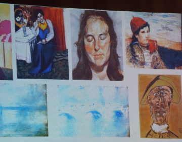 An image shows the paintings stolen from the Netherlands' Kunsthal museum in 2012 — including Picasso's Tête d'Arlequin at bottom right. Two Dutch citizens claim to have found the missing Picasso work, Romanian prosecutors said on Sunday. (Daniel Mihailescu/AFP/Getty Images)