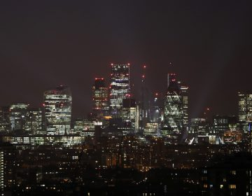 The London skyline, shown in March 2017, is still shining bright. But the U.K. is using noticeably less energy than it did more than a decade ago. (Dan Kitwood/Getty Images)