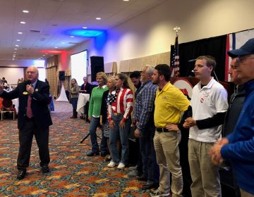 Mike Harrington, chairman of the Delaware Republican Party, addresses candidates and supporters on Election Night, after the GOP was swept out of statewide offices and saw the Democrats increase their advantage in the state House and Senate. (Cris Barrish/WHYY)