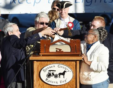 Officials bury the hatchet at Return Day in Georgetown, Delaware. The ceremony symbolizes the end of political hostilities in the First State. (Chuck Snyder/for WHYY)