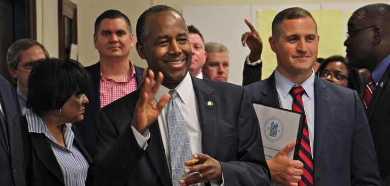 Housing and Urban Development Secretary Ben Carson visits the newly opened Vaux Big Picture High School in North Philadelphia, praising ''public-private partnerships.'' (Emma Lee/WHYY)