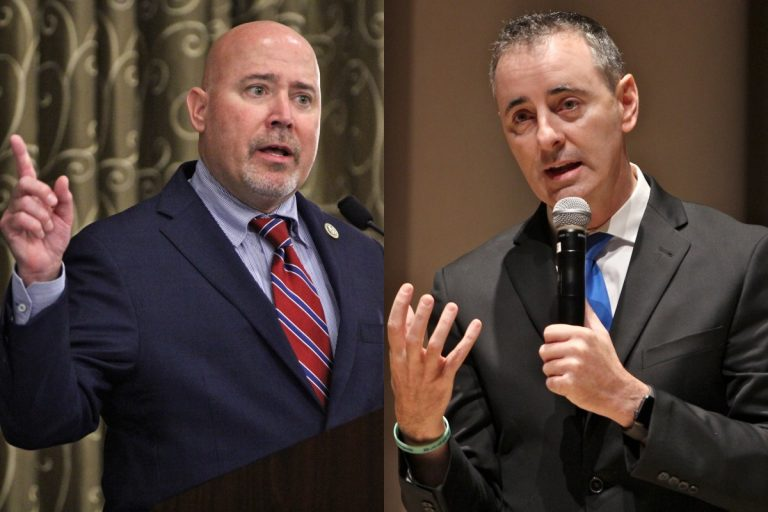Tom MacArthur (left) an incumbent running for Congress in New Jersey's 3rd District, and Brian Fitzpatrick, an incumbent running for Congress in Pennsylvania's 1st District. (Emma Lee/WHYY)