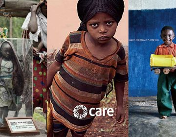 Triptych of charity advertisements from (from left) Save the Children, CARE, and Dubai Cares. (Save the Children/CARE/Dubai Cares)