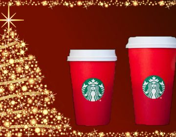 This year Starbucks is being accused of being anti-Christmas because removed snowflakes and reindeer illustrations on its holiday cups. (WHYY graphic)