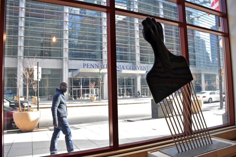 Hank Willis Thomas' Afro pick sculpture,