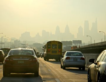 Traffic on I-95 heads south toward Center City.