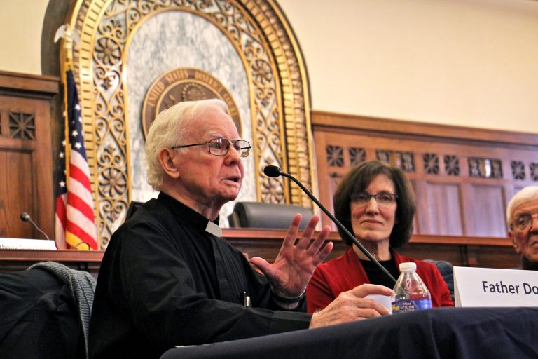Father Michael Doyle talks about his role in the Camden 28, a group of activists who in 1971 broke into a draft board office to destroy the records of draft registrants in protest of the Vietnam War.