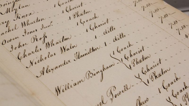 A ledger in the Philadelphia city archives records the tax that Alexander Hamilton paid on his chariot. (Emma Lee/WHYY)